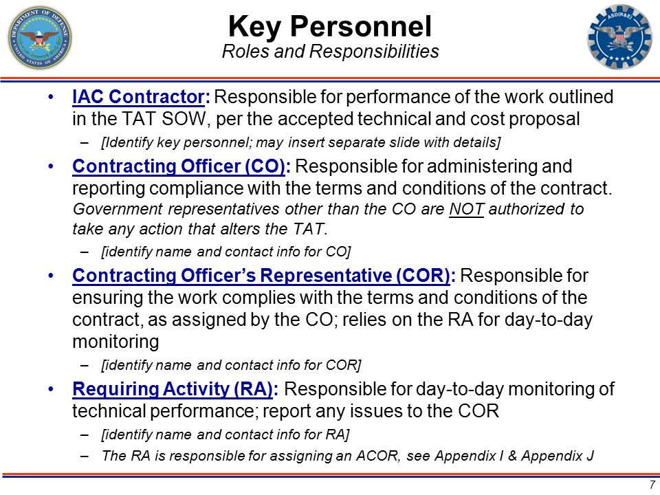 Key Personnel Roles and Responsibilities