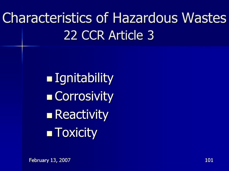 Characteristics of Hazardous Wastes 22 CCR Article 3