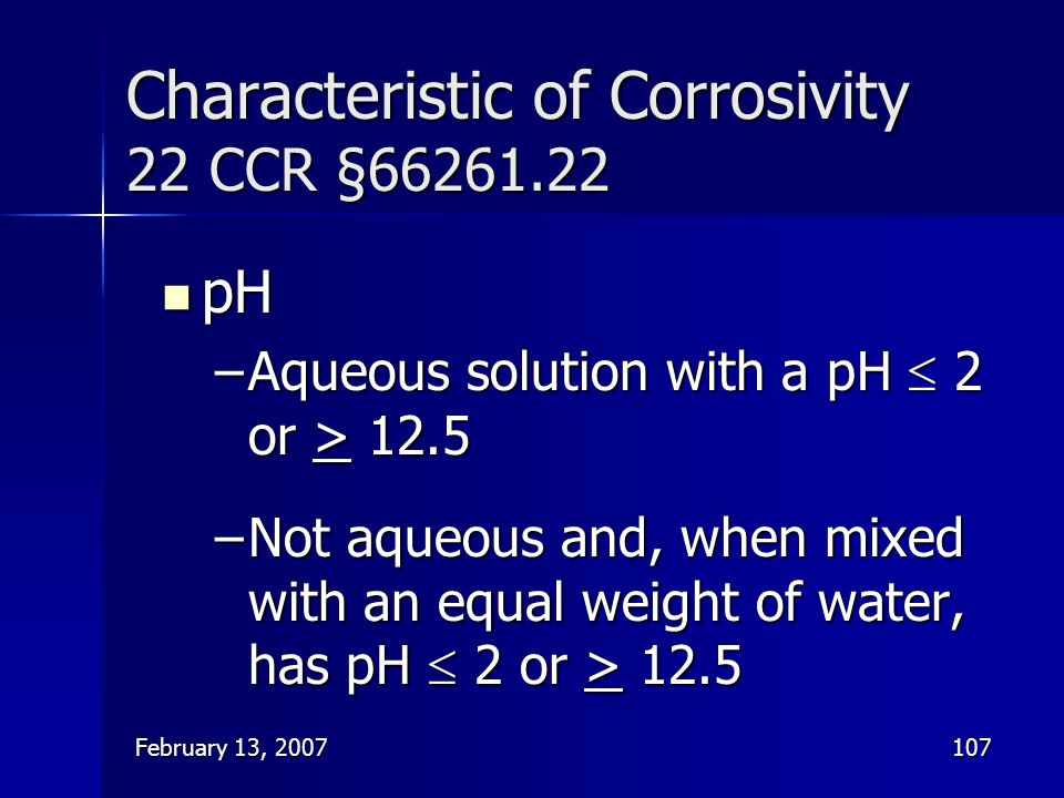 Characteristic of Corrosivity 22 CCR §66261.22