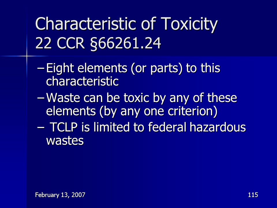 Characteristic of Toxicity 22 CCR §66261.24