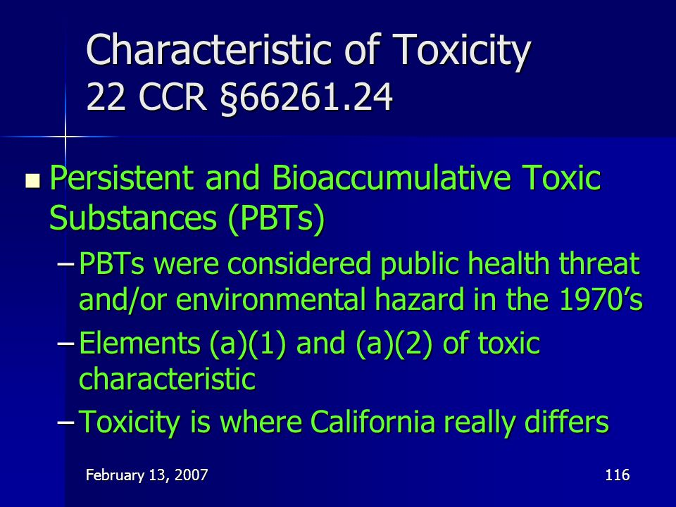 Characteristic of Toxicity 22 CCR §