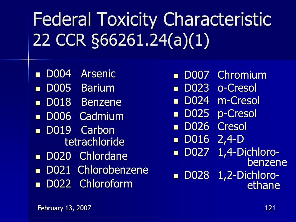 Federal Toxicity Characteristic 22 CCR §66261.24(a)(1)