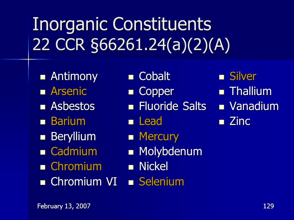 Inorganic Constituents 22 CCR §66261.24(a)(2)(A)