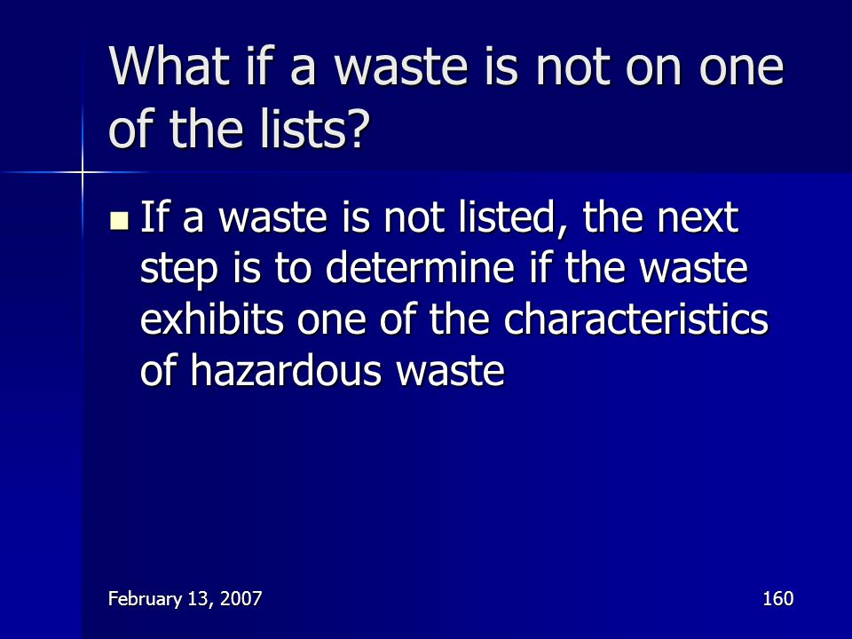 What if a waste is not on one of the lists