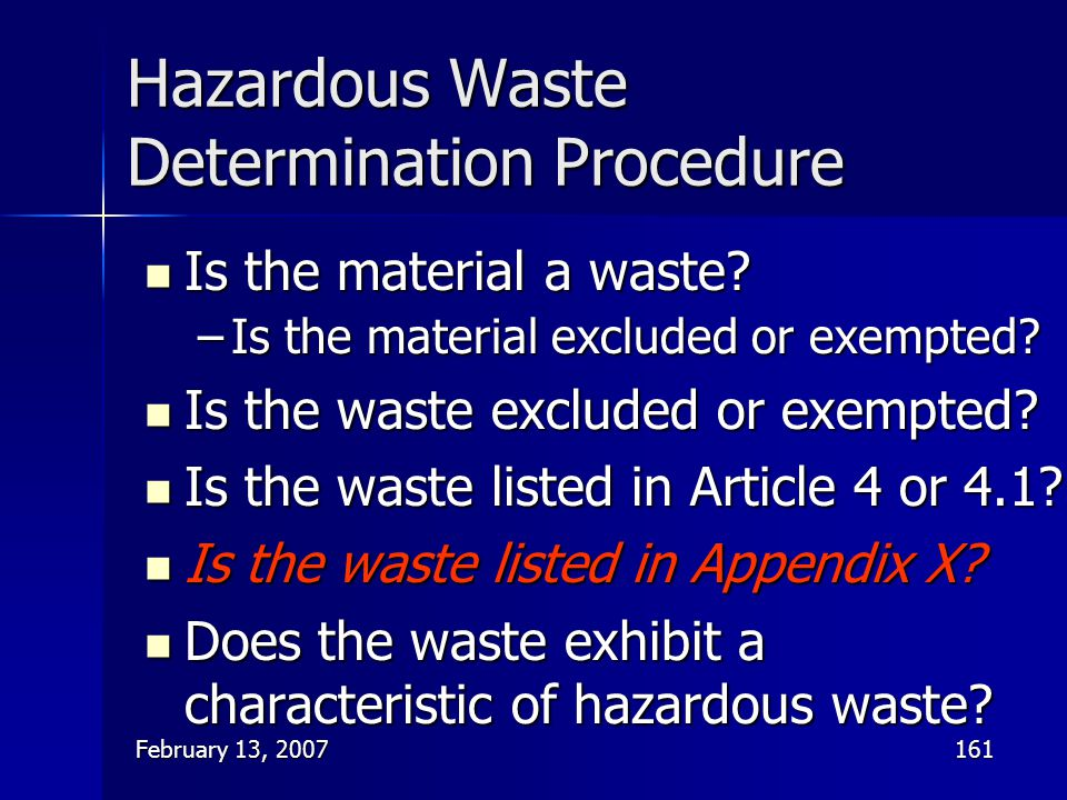 Hazardous Waste Determination Procedure