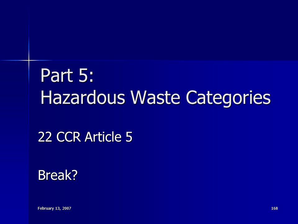 Part 5: Hazardous Waste Categories