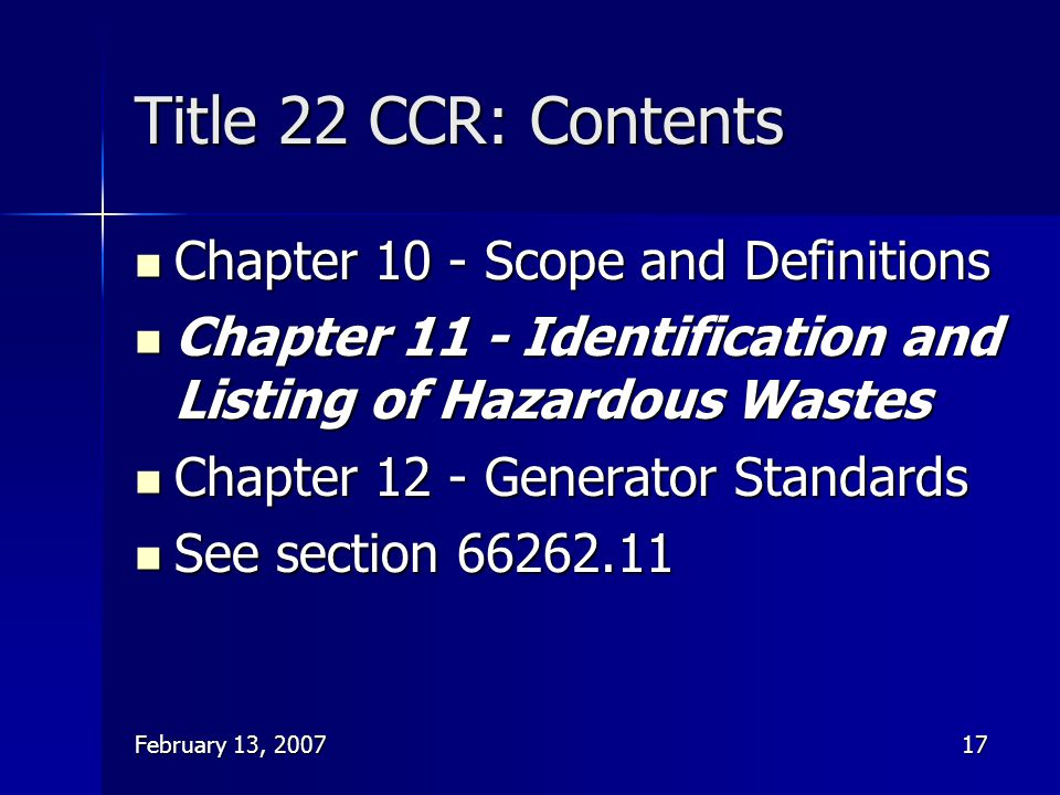 Title 22 CCR: Contents Chapter 10 - Scope and Definitions