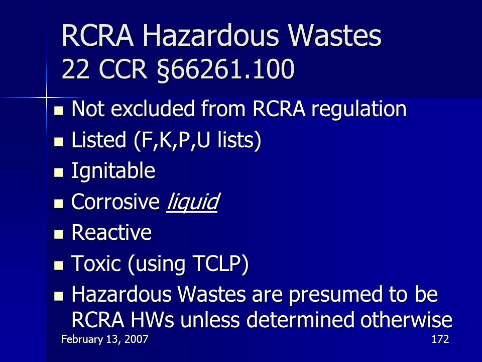 RCRA Hazardous Wastes 22 CCR §66261.100