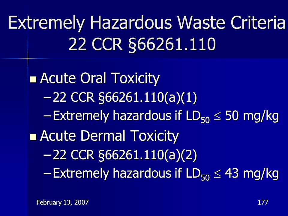 Extremely Hazardous Waste Criteria 22 CCR §66261.110
