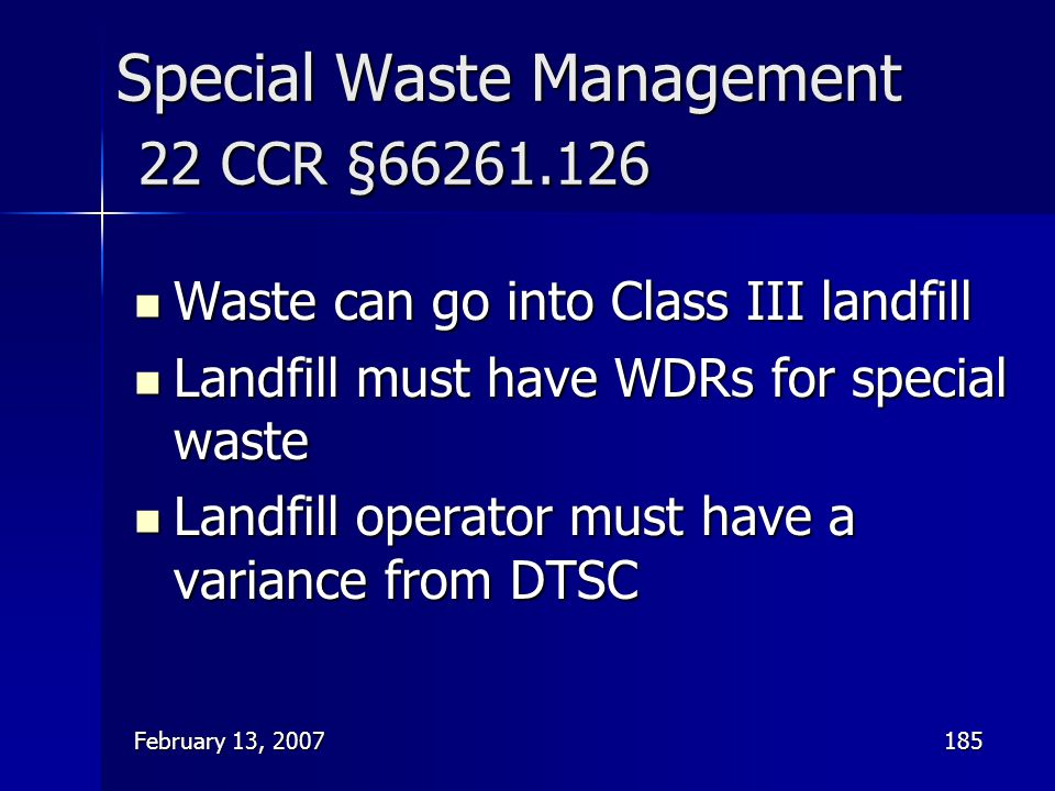 Special Waste Management 22 CCR §66261.126