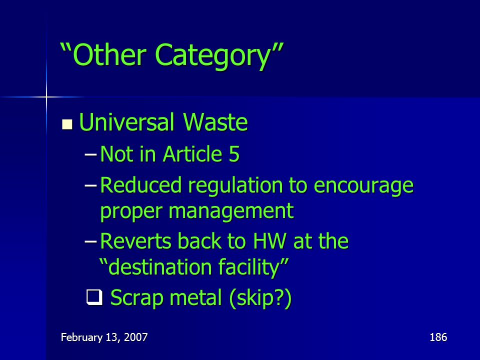 Other Category Universal Waste Not in Article 5