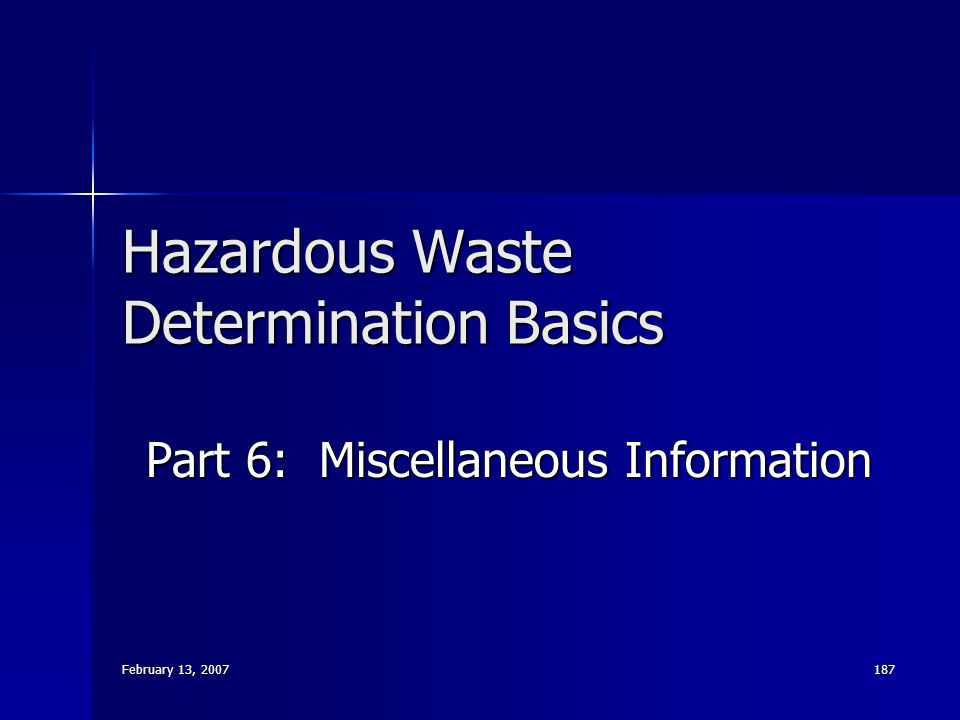 Hazardous Waste Determination Basics