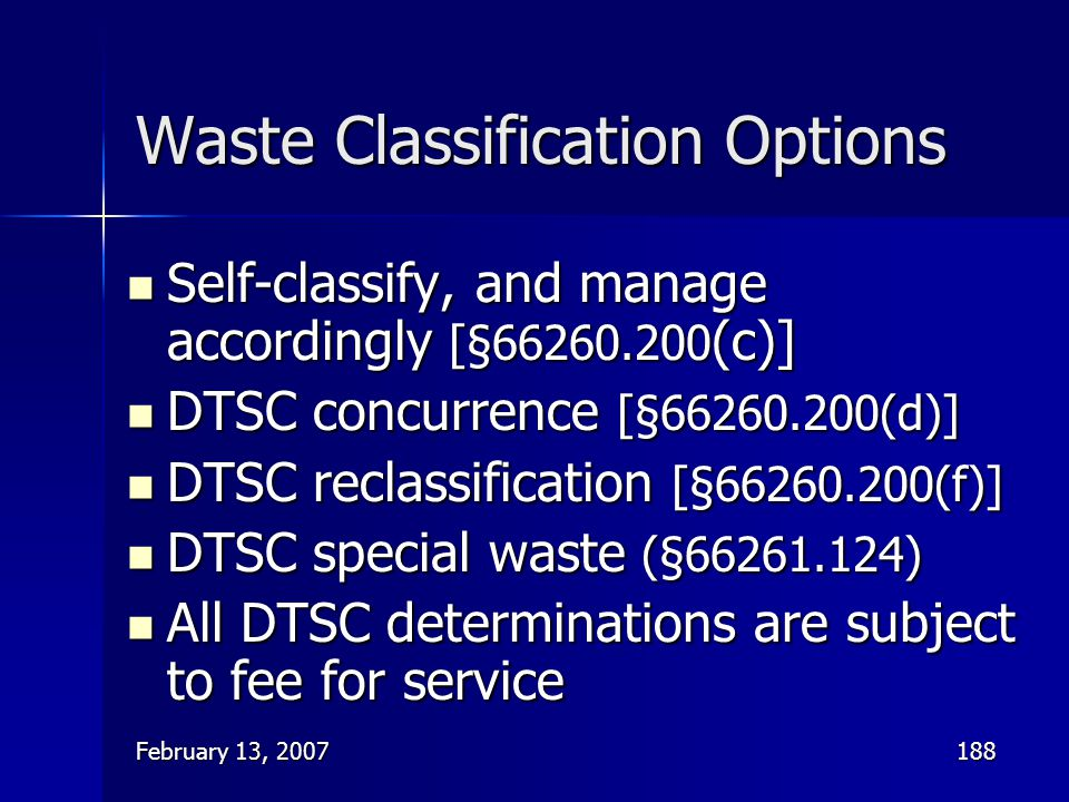 Waste Classification Options