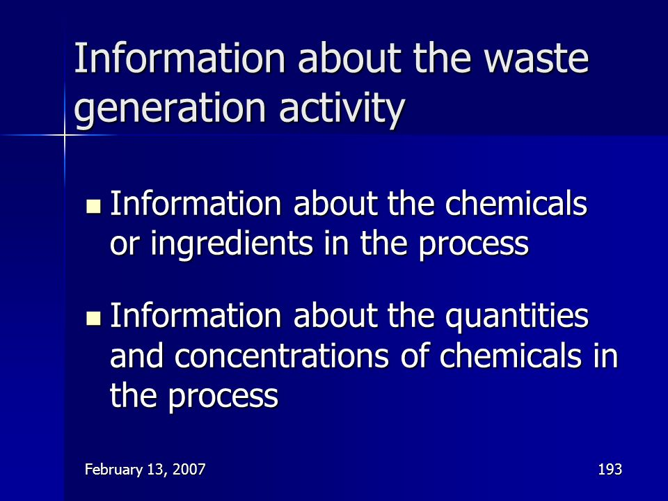 Information about the waste generation activity