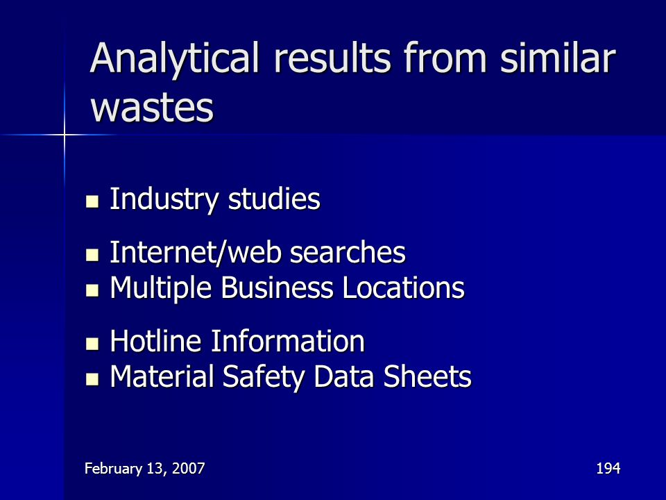 Analytical results from similar wastes