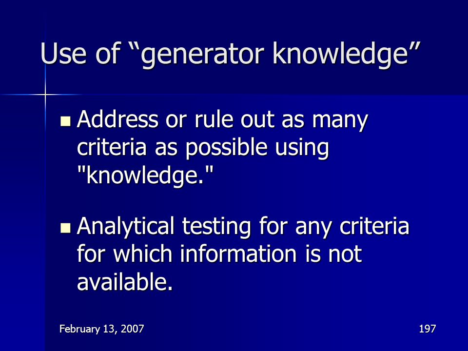 Use of generator knowledge