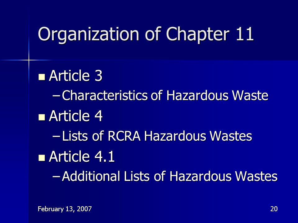 Organization of Chapter 11