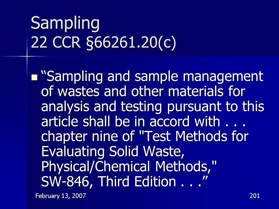 Sampling 22 CCR §66261.20(c)