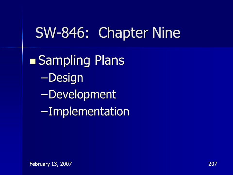 SW-846: Chapter Nine Sampling Plans Design Development Implementation