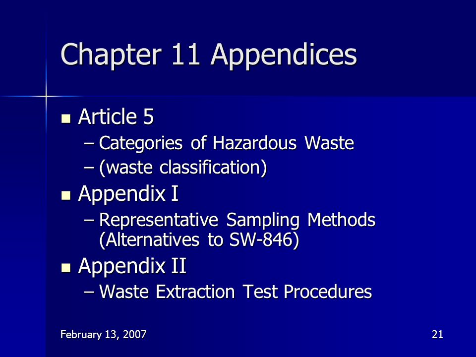 Chapter 11 Appendices Article 5 Appendix I Appendix II