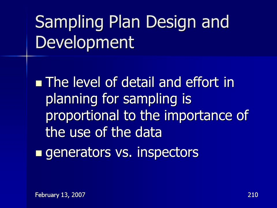 Sampling Plan Design and Development