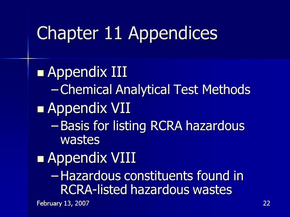 Chapter 11 Appendices Appendix III Appendix VII Appendix VIII