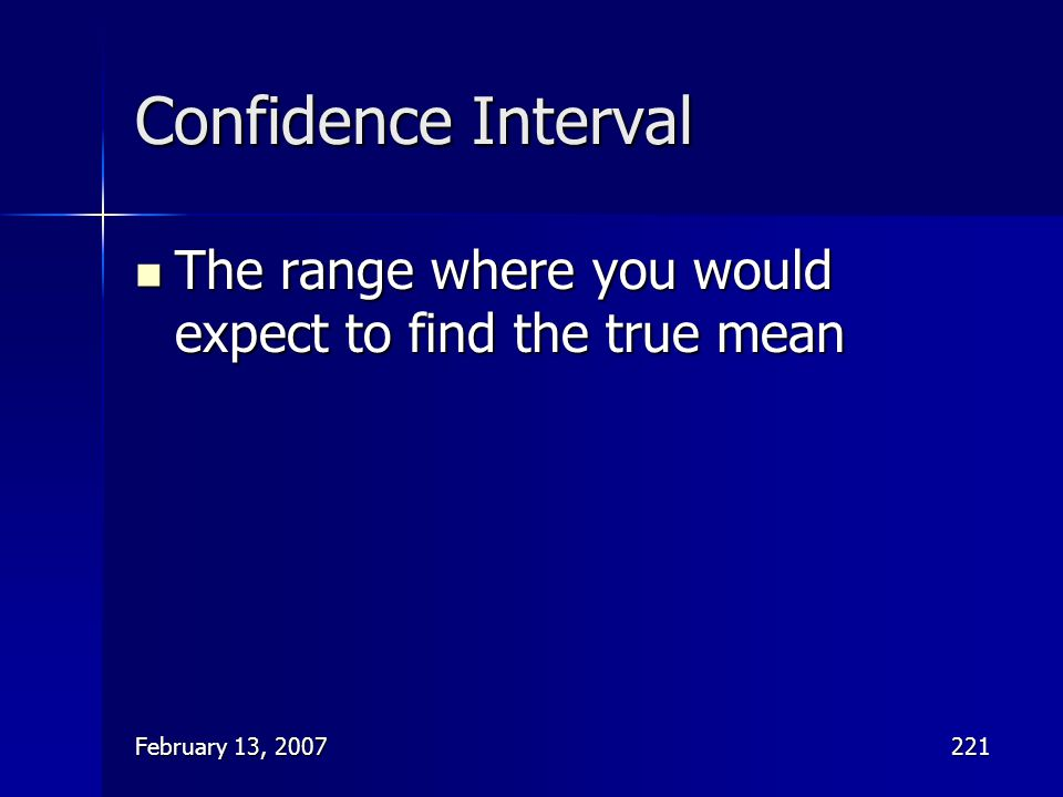 Confidence Interval The range where you would expect to find the true mean February 13, 2007