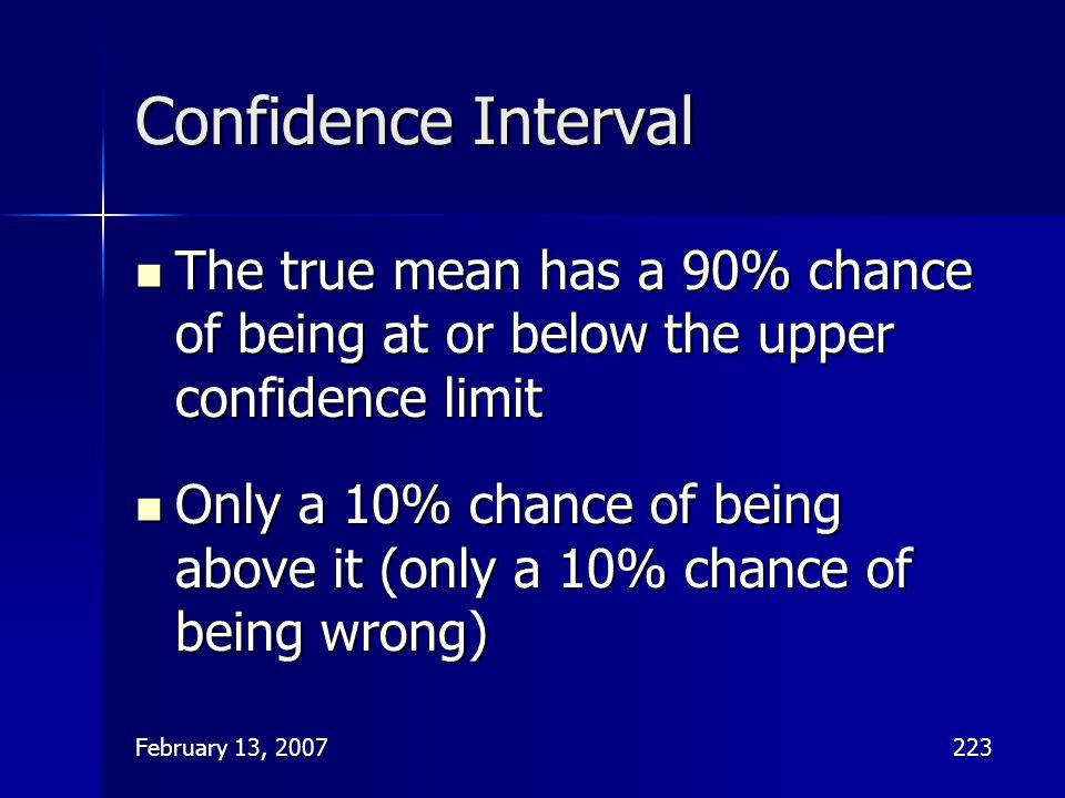 Confidence Interval The true mean has a 90% chance of being at or below the upper confidence limit.