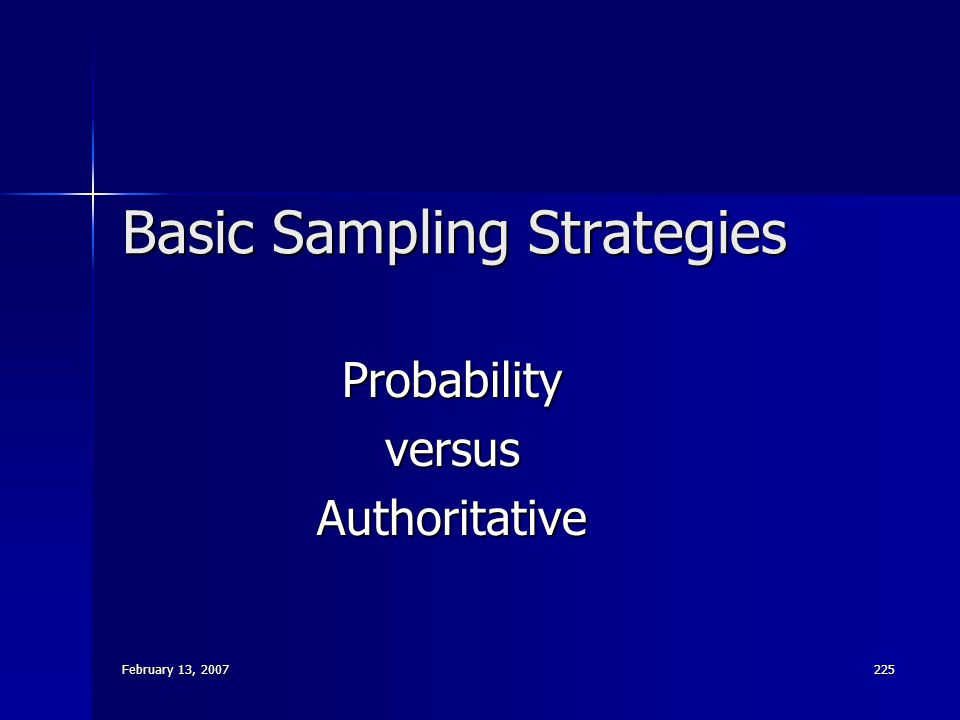 Basic Sampling Strategies