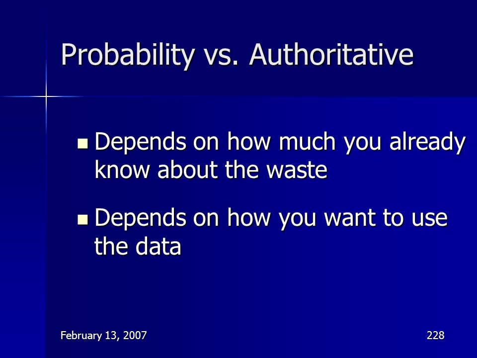 Probability vs. Authoritative