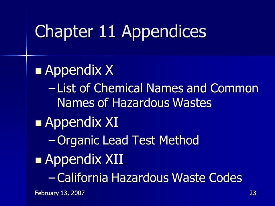 Chapter 11 Appendices Appendix X Appendix XI Appendix XII