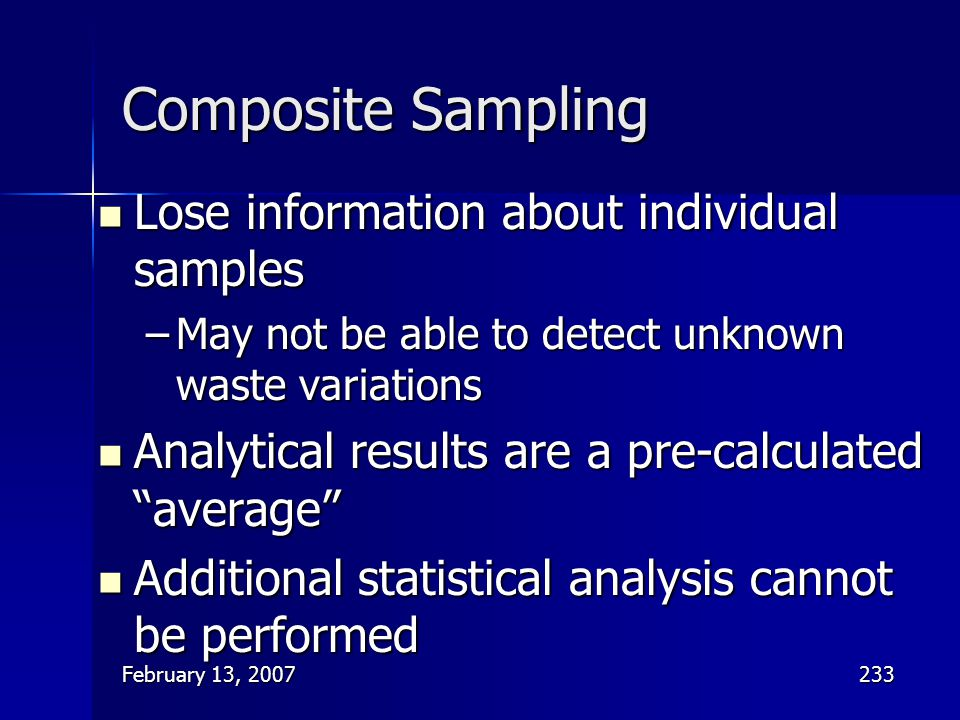 Composite Sampling Lose information about individual samples