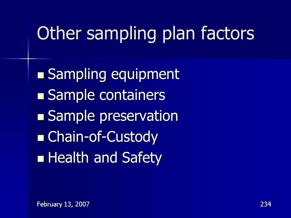 Other sampling plan factors