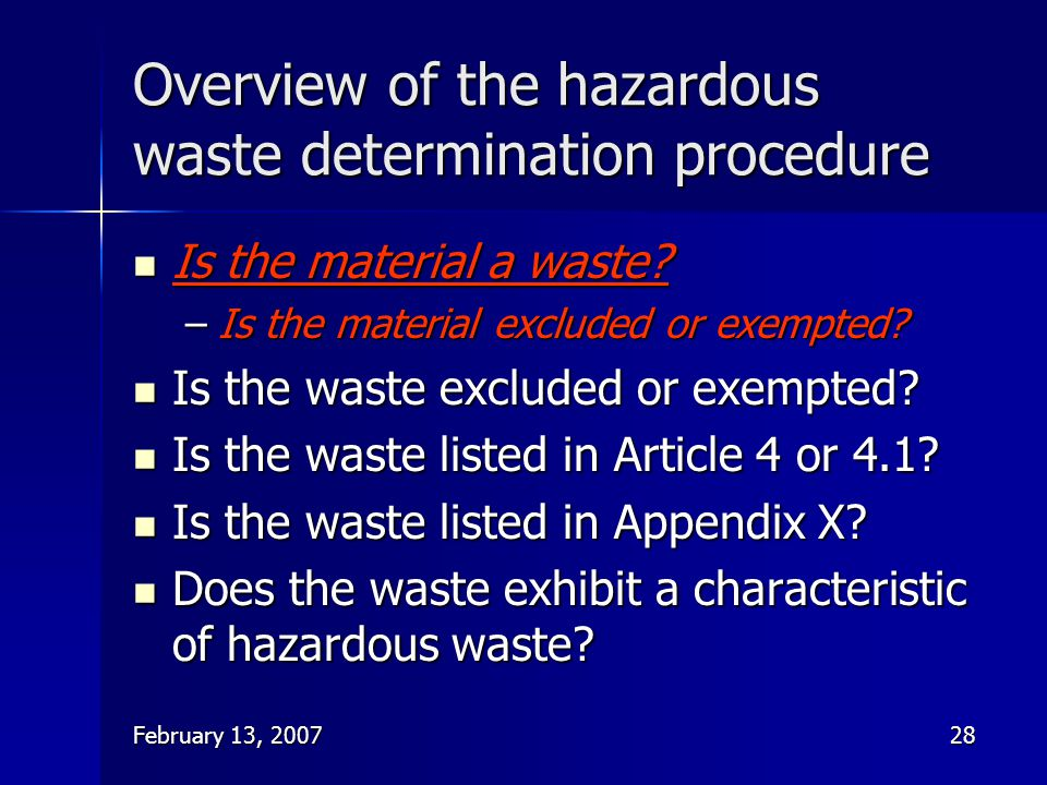 Overview of the hazardous waste determination procedure