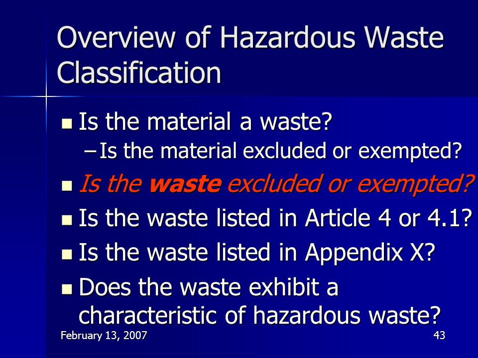 Overview of Hazardous Waste Classification