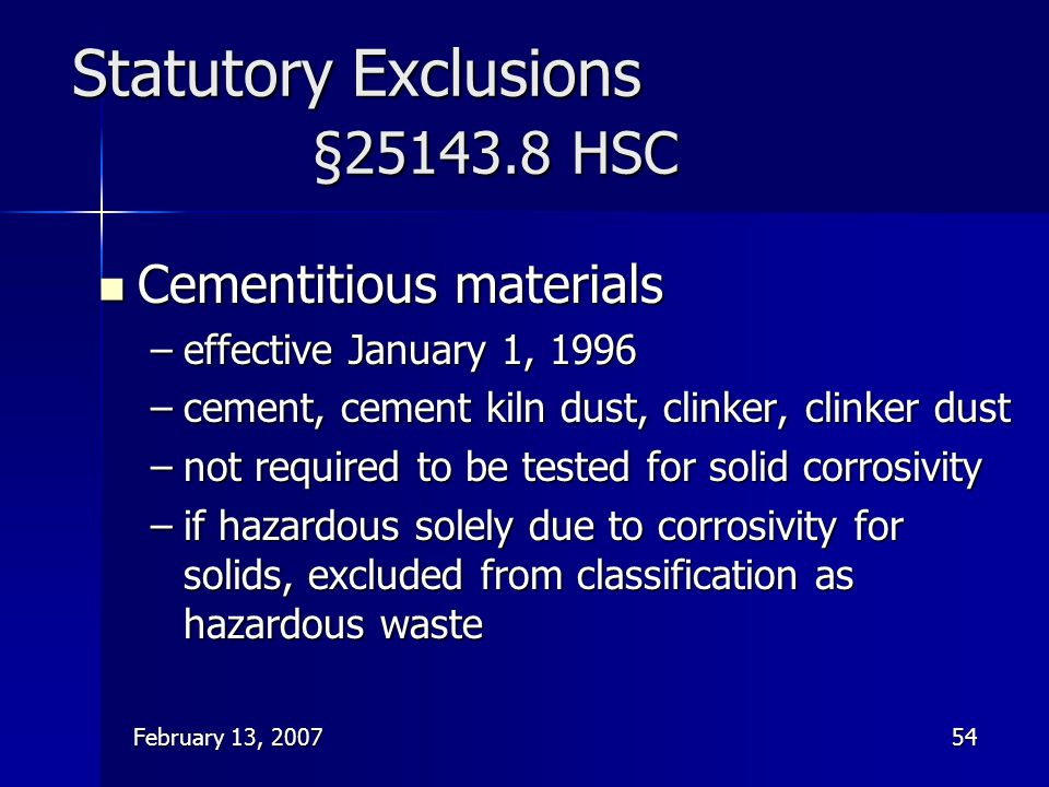 Statutory Exclusions §25143.8 HSC