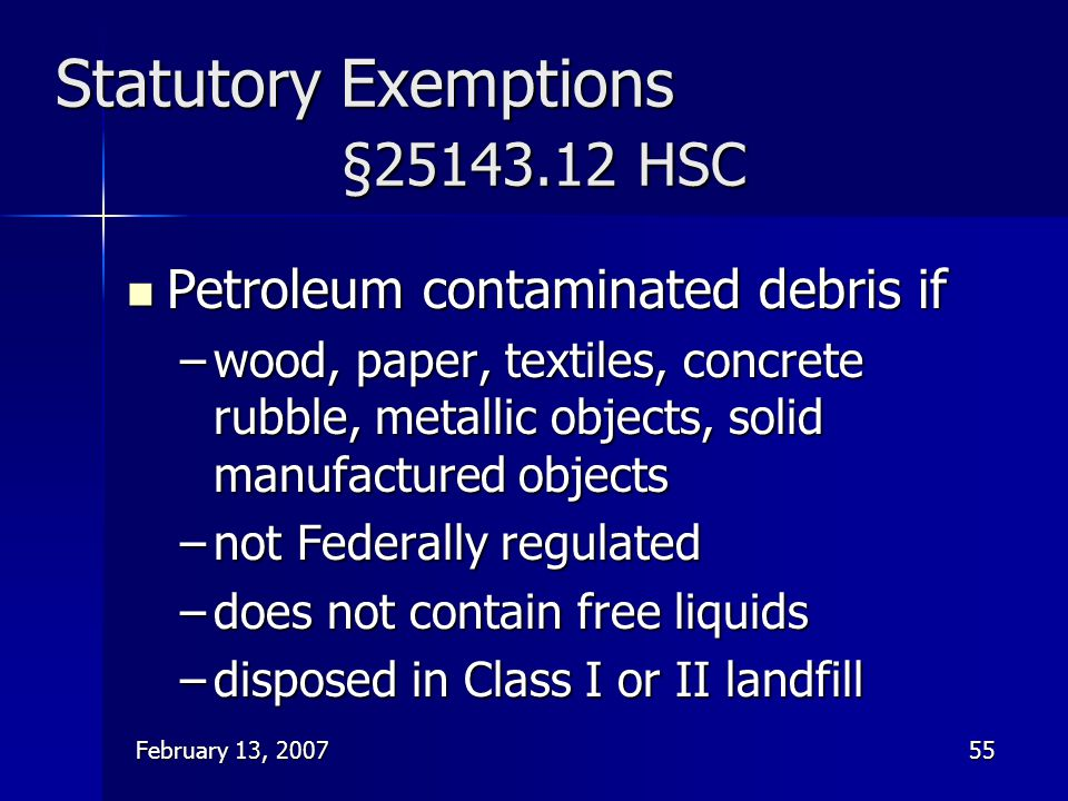 Statutory Exemptions §25143.12 HSC