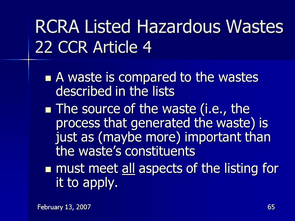 RCRA Listed Hazardous Wastes 22 CCR Article 4