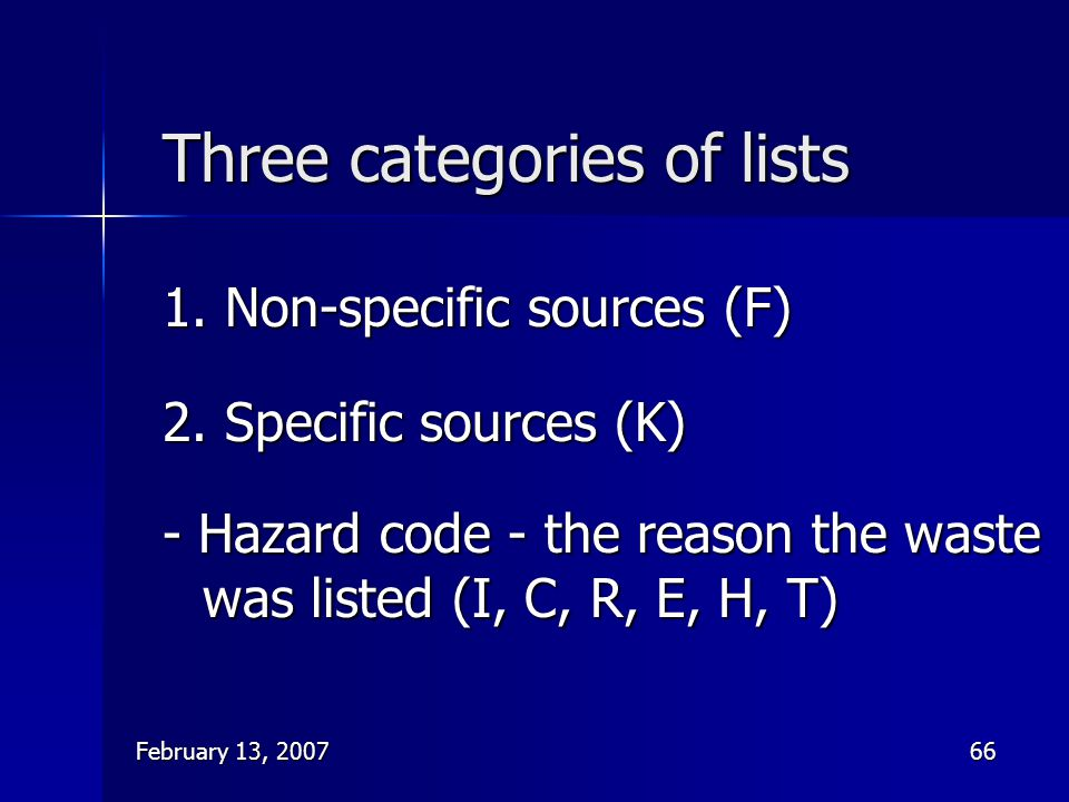 Three categories of lists