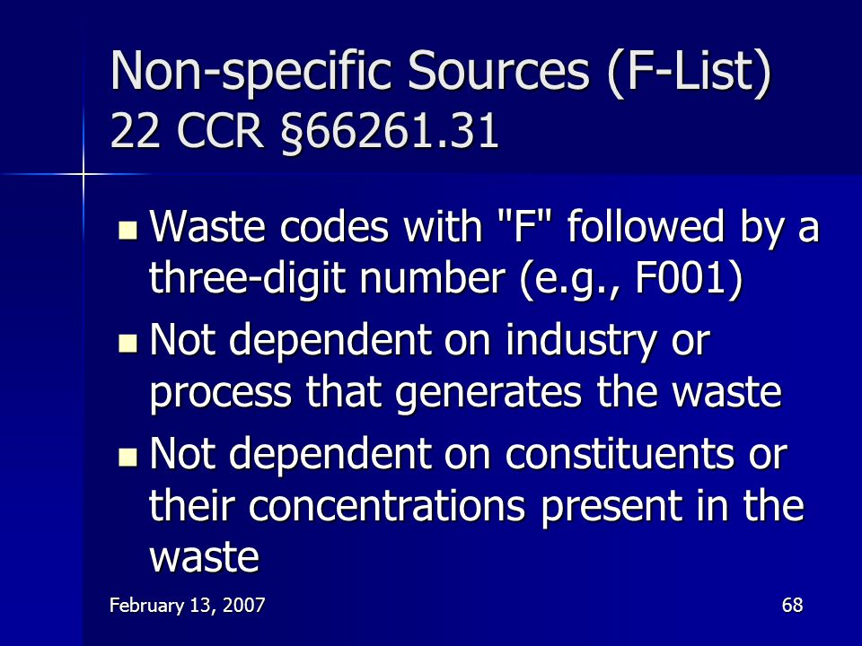Non-specific Sources (F-List) 22 CCR §66261.31