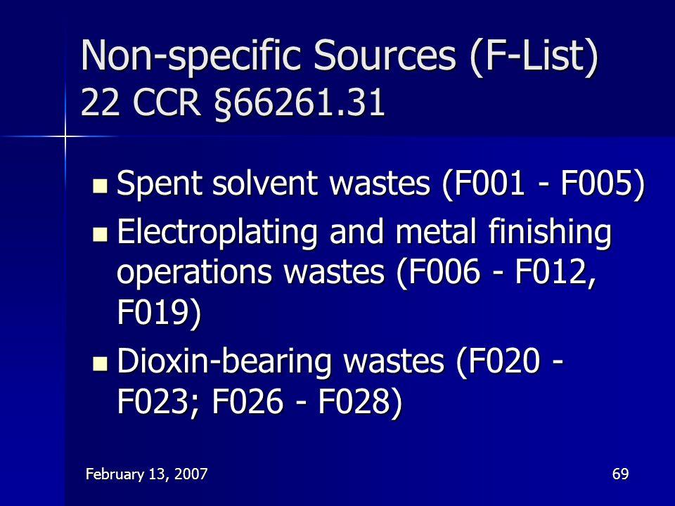 Non-specific Sources (F-List) 22 CCR §66261.31