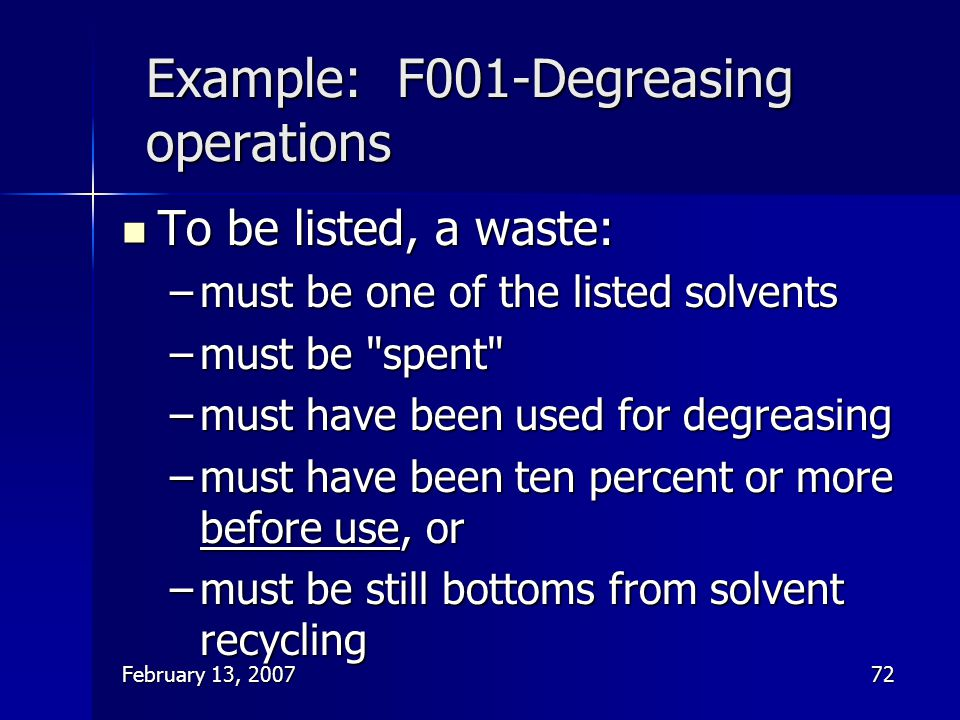 Example: F001-Degreasing operations