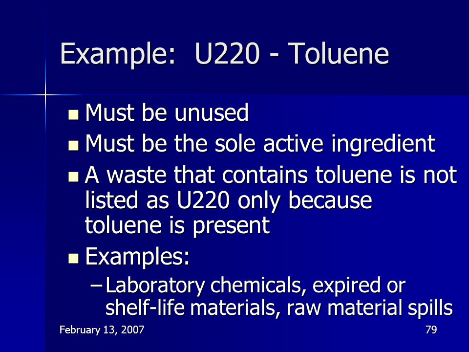 Example: U220 - Toluene Must be unused