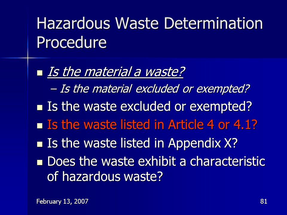 Hazardous Waste Determination Procedure