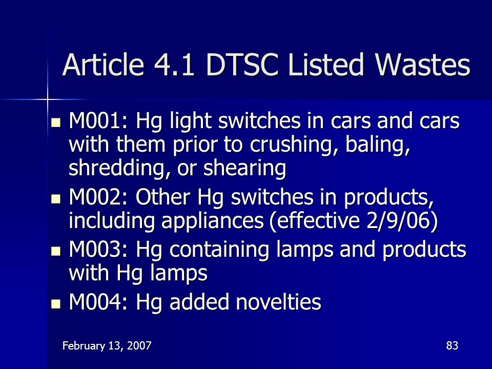 Article 4.1 DTSC Listed Wastes