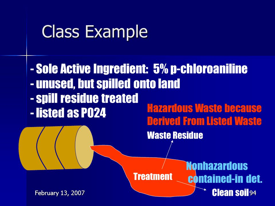 Class Example - Sole Active Ingredient: 5% p-chloroaniline