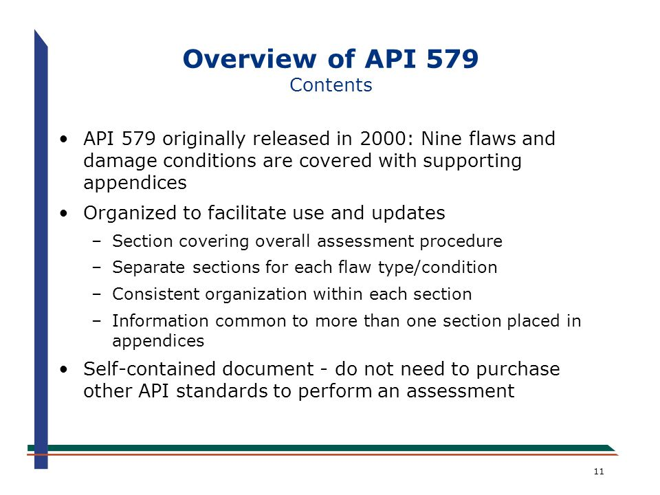 Overview of API 579 Contents