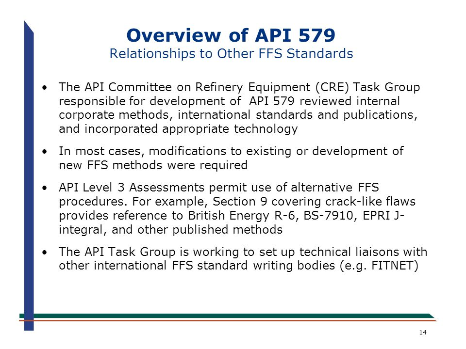 Overview of API 579 Relationships to Other FFS Standards