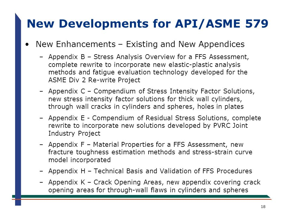 New Developments for API/ASME 579