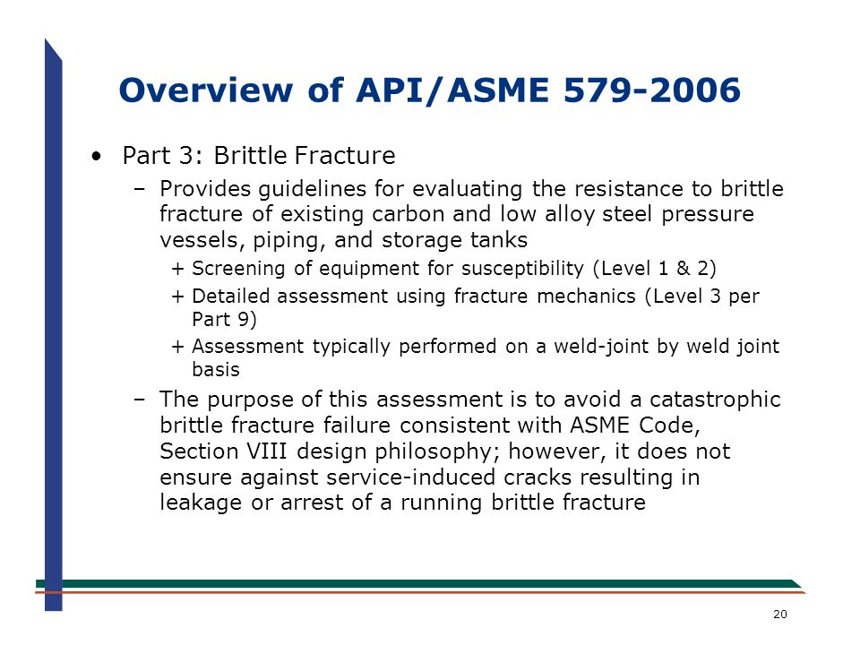 Overview of API/ASME 579-2006 Part 3: Brittle Fracture